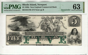 1860 $5 NEW ENGLAND COMMERCIAL BANK NEWPORT RHODE ISLAND OBSOLETE NOTE PMG CU 63