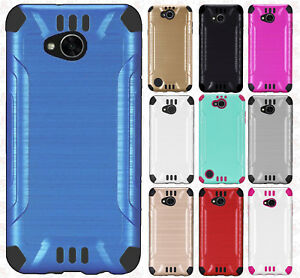For LG X Charge Combat Brushed Metal HYBRID Rubber Hard Case Phone Cover
