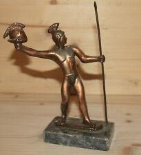 Vintage hand made metal Greek warrior with spear figurine