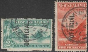 New Zealand 1907 KEVII Official Overprint 2sh, 5sh Used SG O66-O67 cat £365 FLTS