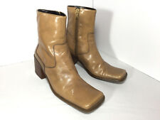 Vintage 2000 NINE WEST Tan Leather Ankle Boots Block Heel Square Toe