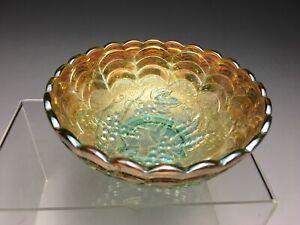 "Rare Imperial Grapes Aqua & Marigold Iridescent Carnival Glass 5"" Bowl"