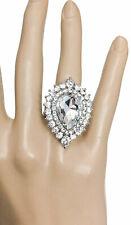 Vintage Inspired Adjustable Statement Ring Clear Rhinestones Bridal Pageant