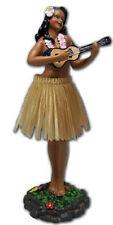 """Dashboard Hula Girl 7"""" Doll Playing Ukulele Beige Skirt Hawaiian Hawaii Island N"""