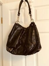 Faux Leather Lightweight Shiny XL Hobo Bag Purse Chain on Handles