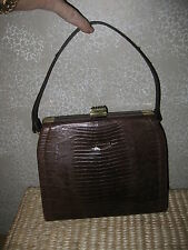VTGE brn Croc or Alligator Leather Hand Bag Purse