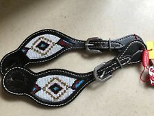 NEW Showman DARK CHOCOLATE Argentina Cow Leather Western Spur Straps w/ Beading