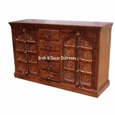 Ethnic Handcarved Side Board of Shesham Wood 150 X 90 X 45 Cms in Brown Colour