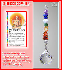 Chakra 20mm Crystal Ball Suncatcher with Natural Gems