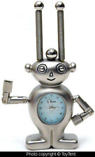 "Space alien ET robot miniature clock 3"" metal free standing space watch with box"