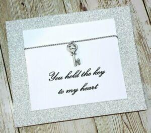 Happy Valentines Day Card Key Heart Gift Boyfriend Girlfriend Charm Keyring