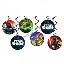 STAR WARS HANGING DECORATION PARTY SWIRL CEILING BOYS BIRTHDAY YODA DARTH 6PK