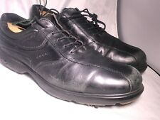 Ecco Black Leather  Spiked Golf Shoes Mens 45 EUR 11-11.5 USA Hydromax Lace Up
