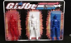 GI JOE 1982 STRAIGHT ARM SNAKE EYES 3-PACK IN RED WHITE AND BLUE CUSTOM SET