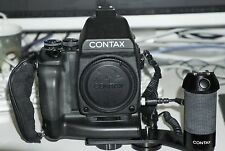 Contax 645 kit with lenses, battery grip, flash handle, film backs and extras