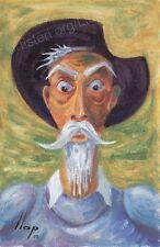 Artisteri / Llop - Quijote 26 - mini óleo s/lienzo original y enmarcado 32x24
