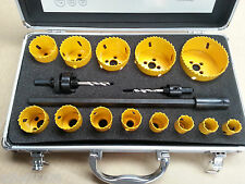 BI METAL HOLE SAW SET 16 Pc 19mm TO 76mm Inc 2 ARBORS & EXTENSION   NEW