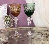 2 Wunderschöne Bleikristall Überfang Weinrömer WMF Cristal Kabinett Edel!