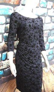 MONSOON FRAN BLUE / BLACK FLOCKED RUCHED DRESS RRP £99 Sizes 12,14,16