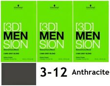 3 x Schwarzkopf 3d MENSION 5 Min Grey Blend (3-12 Anthracite) Colour Cream