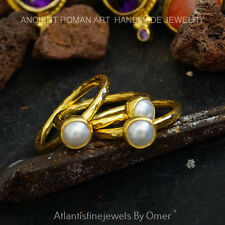 3 PCS PEARL STACKING RING SET BY OMER HANDMADE 24K GEOL VERMEIL STERLING SILVER