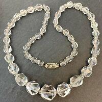 VINTAGE CLEAR FACETED CRYSTAL BEAD NECKLACE BEADED COSTUME JEWELRY