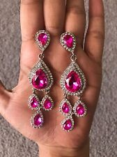 "3.5"" Long Hot Pink Fuchsia Silver Chandelier Pierced Rhinestone Crystal Earrings"