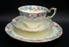 BEAUTIFUL VINTAGE CROWN STAFFORDSHIRE PINK AND BLUE FLORAL TEA SET TRIO