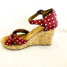 Toms Wedge Red Polka Dot Retro Womens 8.5 Rockabilly