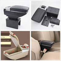 1x Black Car SUV Central Container Armrest Box Cup Holder Accessories PU Leather