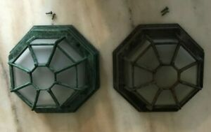 Outdoor Ceiling Light Fixture Vintage Flush Mount Rustic Porch Patio Glass Metal