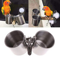 KQ_ Bird Parrot Food Water Feeding Bowl Pet Cage Clip Cup Dispenser Stainless St