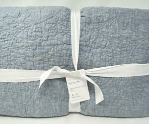 New~Pottery Barn Belgian Flax Linen Floral Stitch Quilt~KING ~Chambray Blue