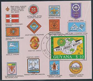 GUYANA 1989 World Jamboree Australia 10 $ VFU MS ERROR/VARIETY: WHITE LINE