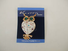 Owl Brooch Cream Enamel Heart For The Body Pearl Balls And Coloured Stones New