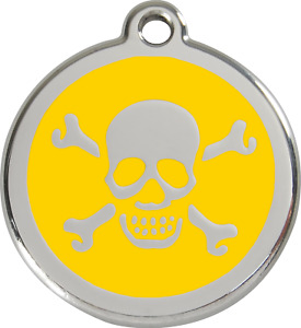 Steel Red Dingo Skull ID Charm Dog Tag Black Purple Blue Green Yellow Red Pink