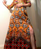 Vintage 1970's Psychedelic Tibetan Style Boho Maxi Skirt w/ Slits (M/L)