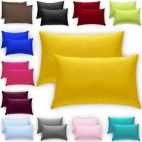Luxury 2 X Pillow Case Pair Fine Poly Cotton Housewife Pillows Pack Cover Cases