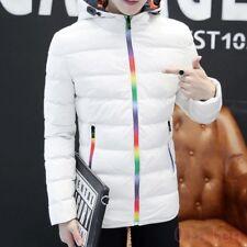 Men Winter Cotton Blend Thick Rainbow zip Outdoor Hoodie Korean Top Jacket Vogue