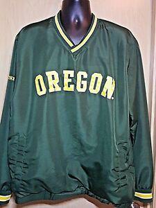 Univ Oregon Ducks Green Pullover Jacket GIII Men's XL V-Neck Windbreaker