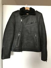 Allsaints Men's Shearling Jacket Grey Size Small Genuine Sheep Skin RRP £895