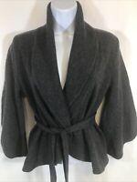 BCBG MAXAZRIA Women's Gray Merino Wool 3/4 Sleeve Wrap Cardigan Sweater Sz M