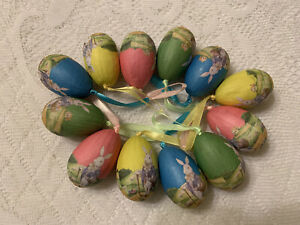 Easter Eggs Colourful 6 pieces in Eggs carton NEW Erzgebirge Easter Rabbit Infertile Egg Wood