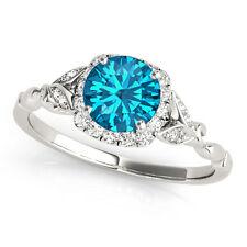 1.12 Carat Round Cut Blue Topaz Gem Stone Halo Diamond Floral Engagement Ring