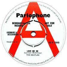 REPLICA THE BEATLES DEMO LOVE ME DO PARLOPHONE  REPRO VINYL STICKER  85MM