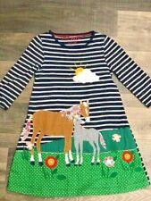 Mini Boden Horses Applique Navy & White Striped Jersey Dress size 7 8 Eeuc