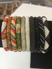 10 SET Nepal Rolls Glass Beaded bracelet crochet handmade bead bangle USA Exact