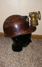 MSA Skullgard Vintage Coal Mining Hard Hat Helmet with Auto-Lite Carbide Lamp