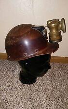 MSA Skullgard Vintage Coal Mining Hard Hat Helmet with Auto-Lite Carbide Lamp