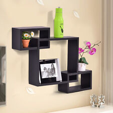 Intersecting 3 Rect Boxe Floating Shelf Wall Mounted Home Decor Furniture US
